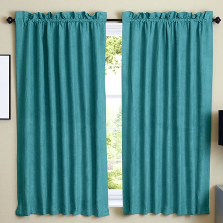 Chenille Suede - Blazing Needles Solid Blackout Rod pocket Curtain Panels (Set of 2)