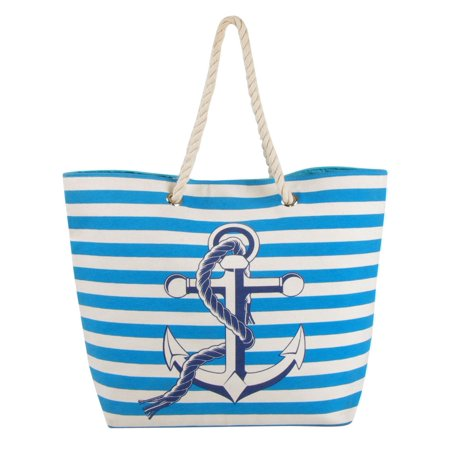 Swan Comfort Striped Canvas Beach Bag Anchor Design Tote Sky Blue