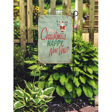 JSDART Red Merry Vintage Christmas Sign Retro Year Happy Text Newyear Garden Flag Decorative Flag House Banner 12x18 inch - image 2 of 2
