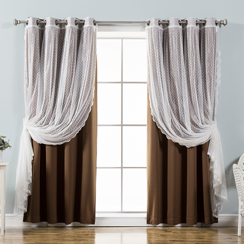 Chocolate Lace and Solid 52 x 96 In. Blackout Window Treatments, Set of Four