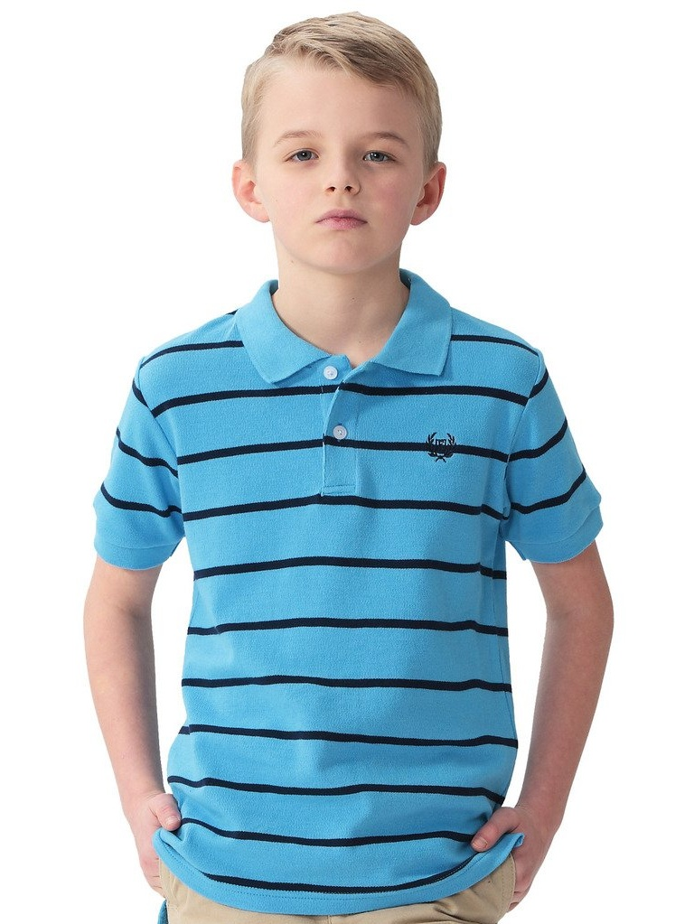 LEO&LILY Big Boys' Kids' Cotton Dressing Striped Polo Shirts