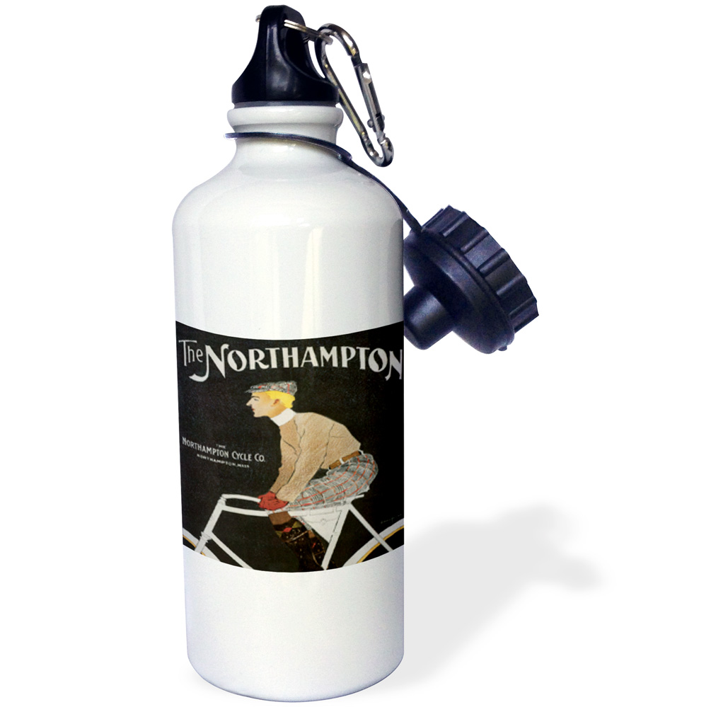 3dRose The Northampton Cycle Co. Northampton, Mass Vintage Bicycle Advertising Poster, Sports Water Bottle, 21oz