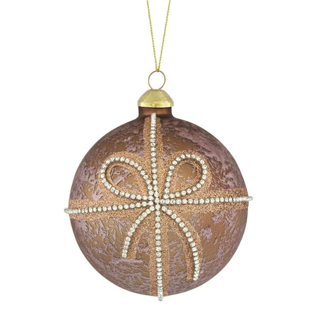Melrose International 72340DS 6.25 x 4 in. Glass Ornament with Bow, Rose Gold & Silver - Set of 6 - image 1 of 1