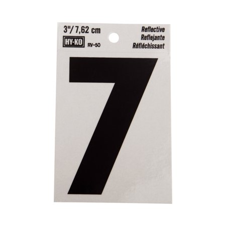Hy-Ko 3 Reflective Vinyl Self-Adhesive Sticker Number 7 (Number Stickers)