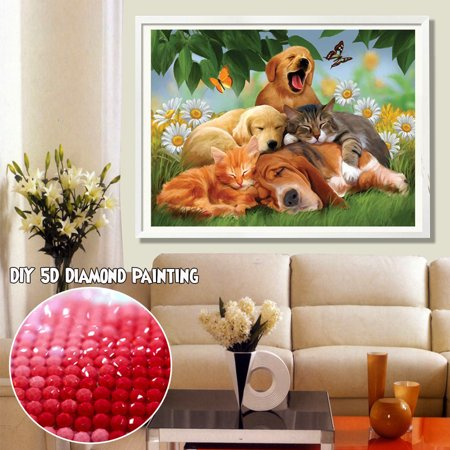 DIY 5D Full Drill Diamond Painting Animal Embroidery Needlework Square Kit Rhinestone Pasted Dogs Family Home Decor Christmas Diamond Painting Gift ( NO Fra