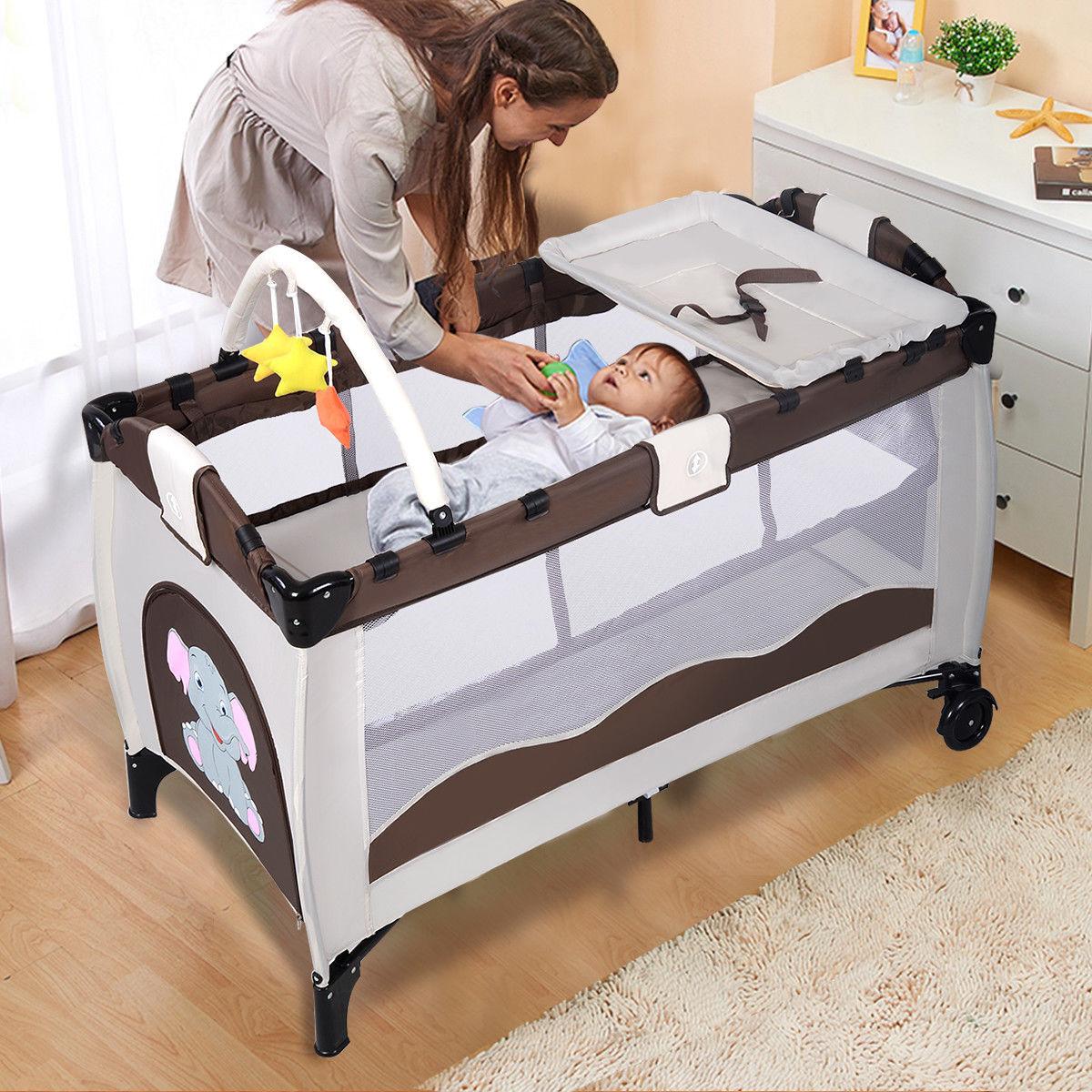 Costway Coffee Baby Crib Playpen Playard Pack Travel