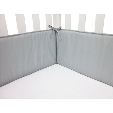 Image of ABC 100% Cotton Percale Crib Bumper - Solid Gray