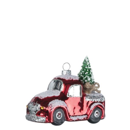 Glass RED PICKUP TRUCK Christmas Ornament, 4.25