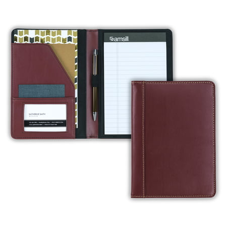 Samsill Contrast Stitch Leather Junior Padfolio, 5