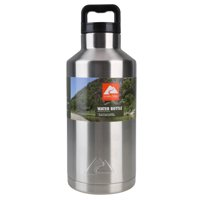 Ozark Trail Double Wall Vacuum Sealed Stainless Steel Water Bottle, 64 oz