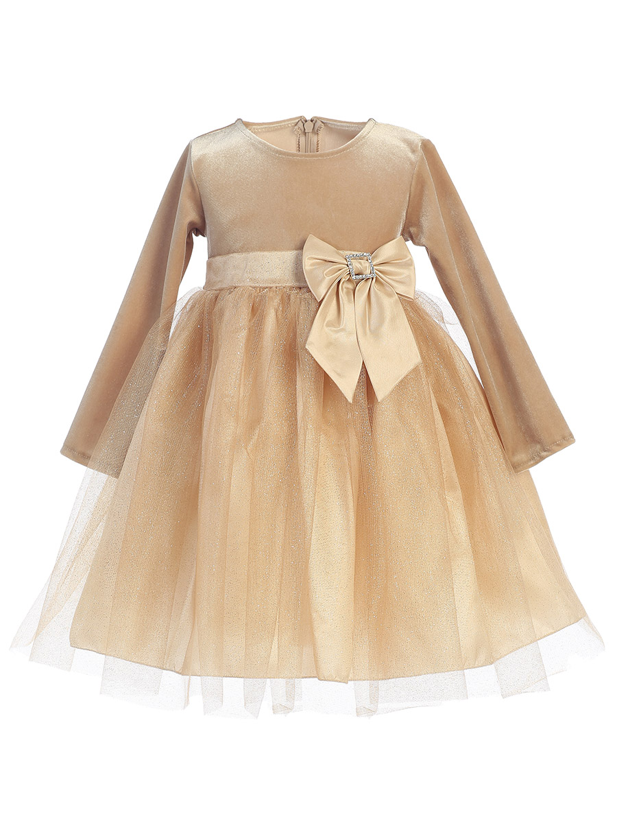 Made in the USA - Gold Stretch Velvet w/ Glitter Tulle & Bow Holiday / Christmas Girls' Dress