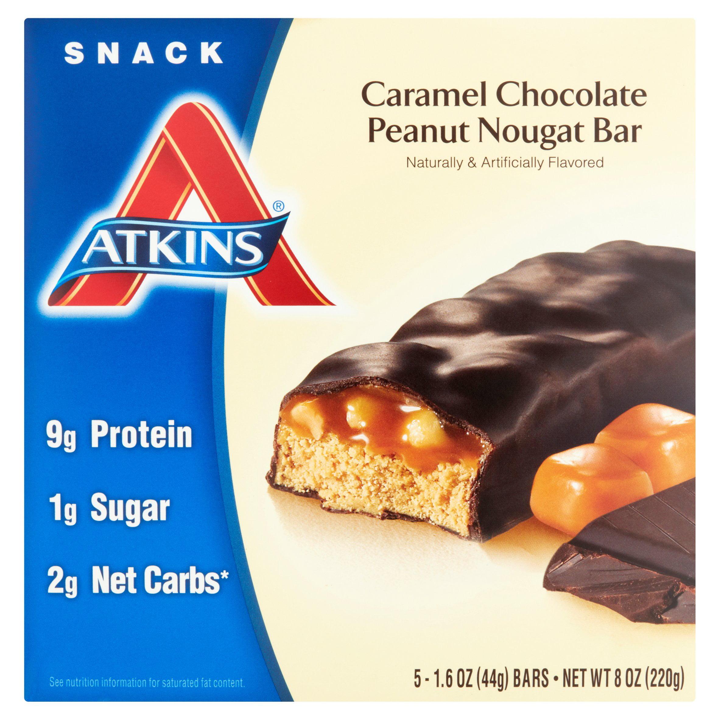 Atkins Snack Caramel Chocolate Peanut Nougat Bars 5-pack
