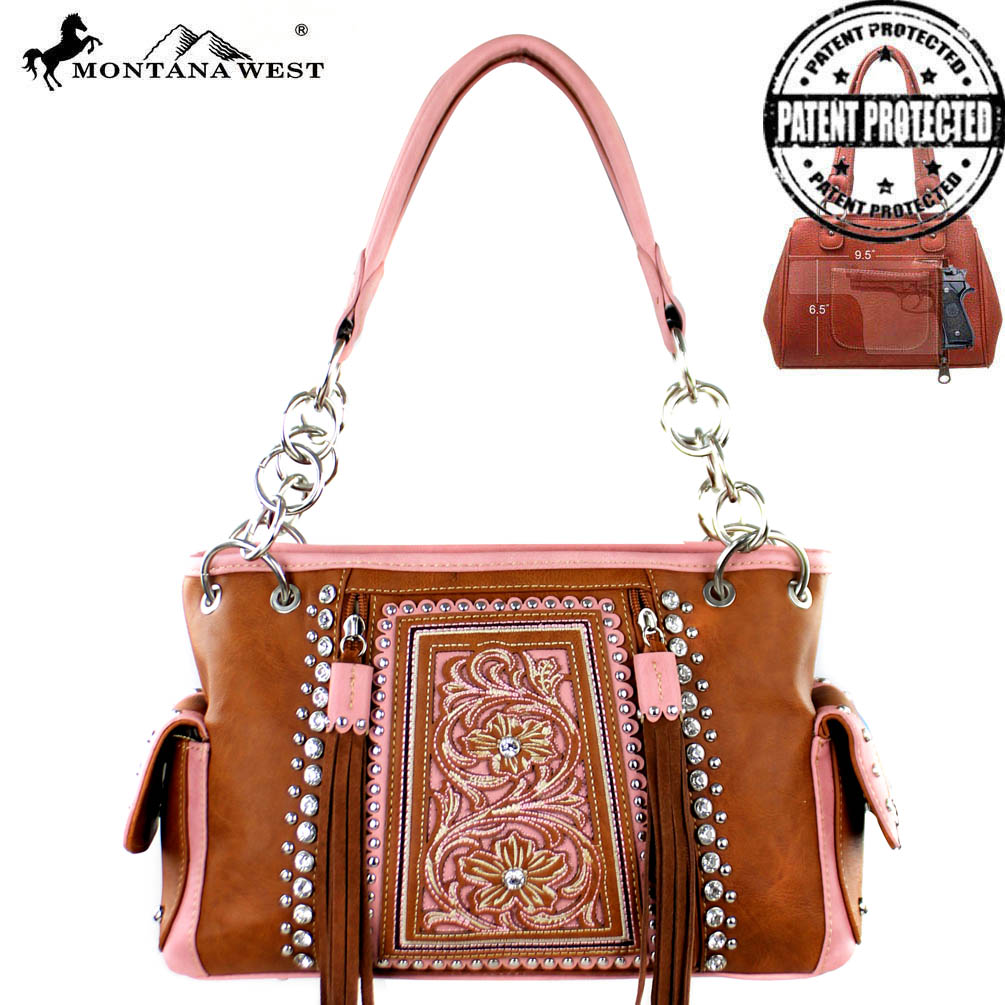 MW371G-8085 Montana West Embroidered Concealed Handgun Collection Satchel