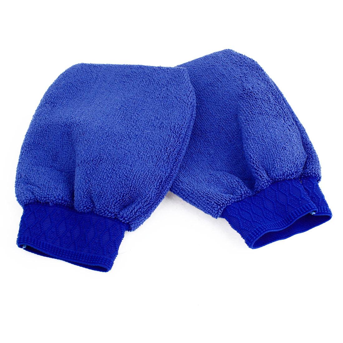 Protective Car Wash Glove Anti Scratch w Elastic Cuff for Auto Car Blue