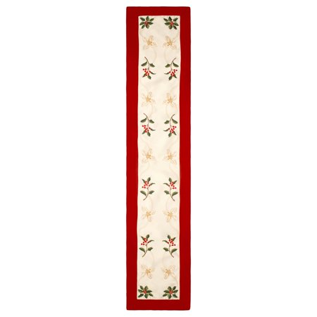 Holiday Holly Berries Embroidered 14 X 72 In  Table Runner With Red Trim Border