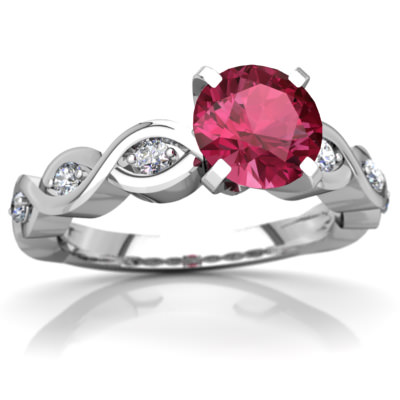 Pink Tourmaline Infinity Engagement Ring in 14K White Gold