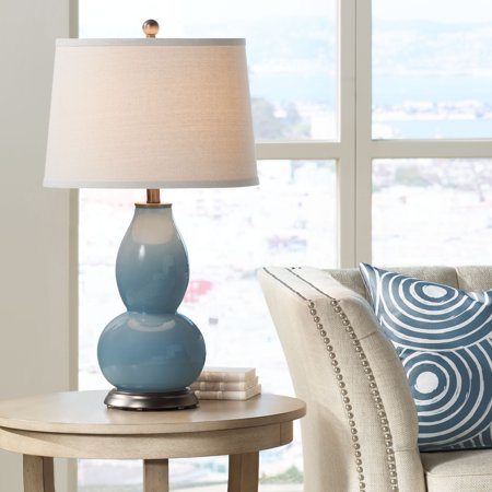 Color Plus Modern Table Lamp Smoky Blue Glass Double Gourd Off White Drum  Shade for Living Room Family Bedroom Bedside Nightstand
