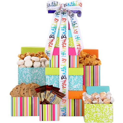 Alder Creek Gift Baskets Happy Birthday Treats Tower Gift Set