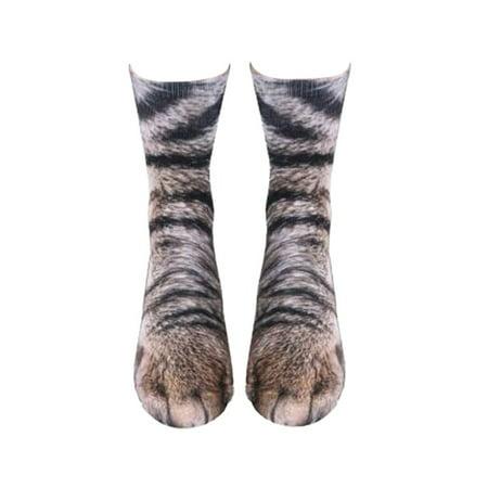 Fashion Unisex 3D Printed Animal Paw Crew Socks Novelty Socks Casual Sports Sock