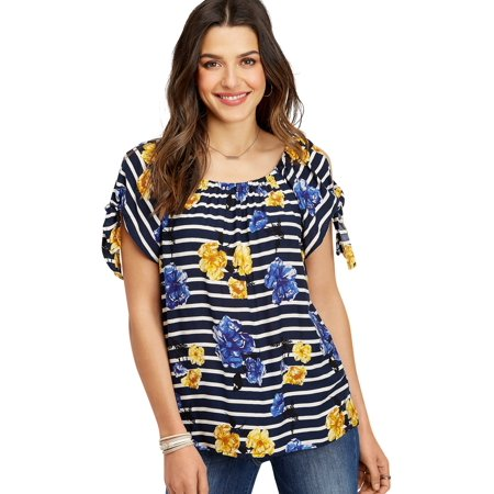 2e31714194efe maurices - Floral Stripe Cold Shoulder Tie Sleeve Top - Walmart.com