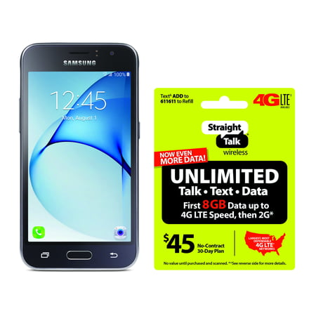 Refurbished Straight Talk Samsung Galaxy J1 Luna 4G LTE Smartphone with BONUS $45/30