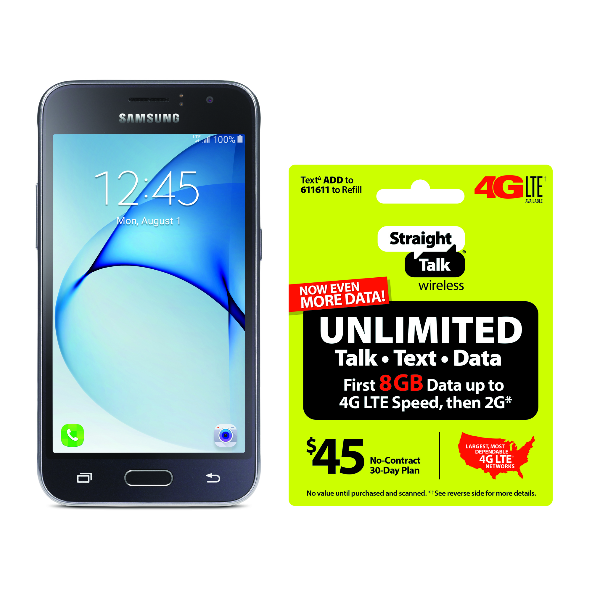 Refurbished Straight Talk Samsung Galaxy J1 Luna 4G LTE Smartphone with BONUS $45/30-Day Plan