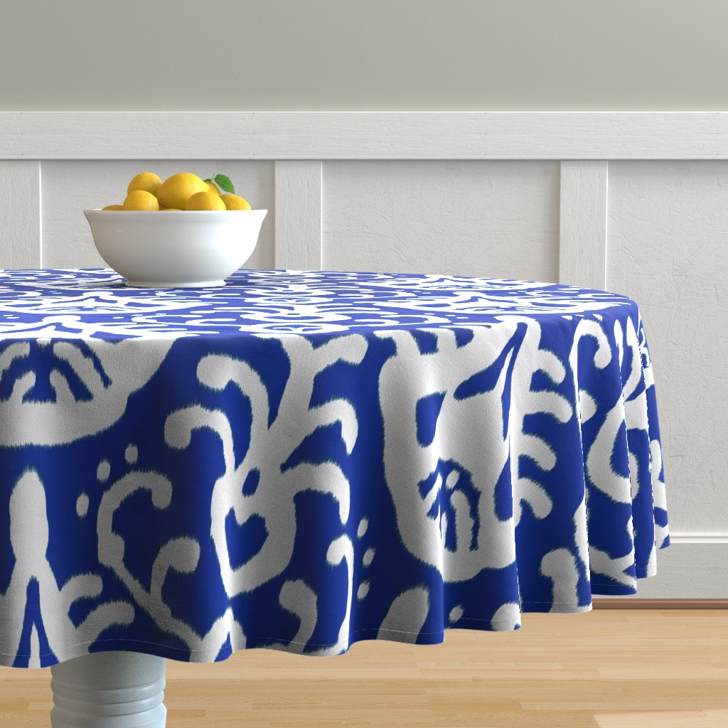 Turquoise Blue Beach Cotton Sateen Circle Tablecloth by Spoonflower Sea Cream Ikat by domesticate Mint Ikat Round Tablecloth