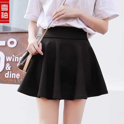 Fashion Unique Women's Stretch Waist Plain Skater Flared Pleated Mini Skirt - Skater Skirt Halloween