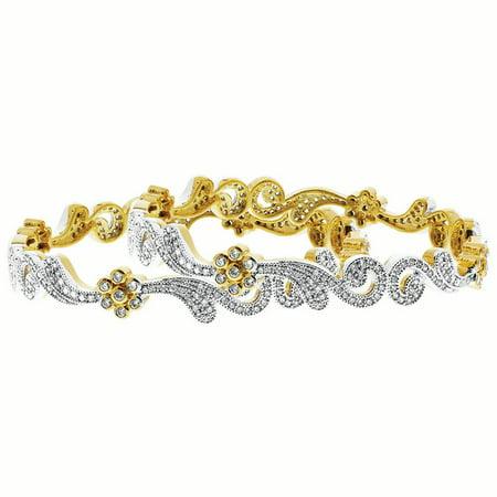 Clear Stones Gold Bracelet (Gem Avenue Gold Plated CZ Swirl Design Bollywood Indian Bangle Bracelet Size 2.2- 2.8 set of)