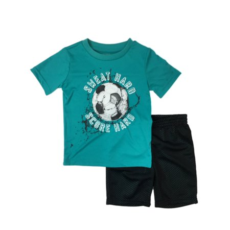 Infant & Toddler Boys Sweat Hard Score Hard Baby Outfit Soccer Shirt & Shorts