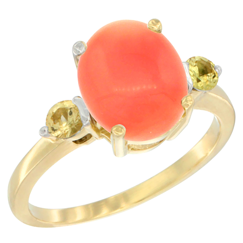 14K Yellow Gold Natural Coral Ring Oval 10x8mm Yellow Sapphire Accent, sizes 5 10 by WorldJewels