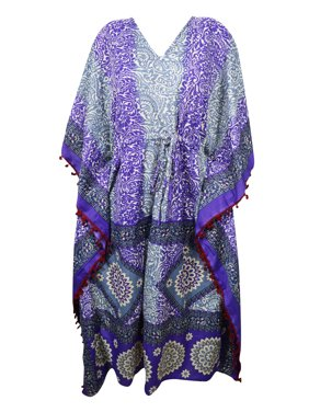 16673996a080 Product Image Mogul Purple Maxi Long Caftan Printed Pom Pom Tassel V Neck  Silk Blend Beach Cover Up