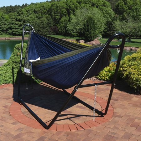 Sunnydaze Double Nylon Parachute Camping Hammock, Includes Carabiners and 2 Person Multi-Use Steel Hammock Stand, 440 Pound Capacity, Blue and Olive ()