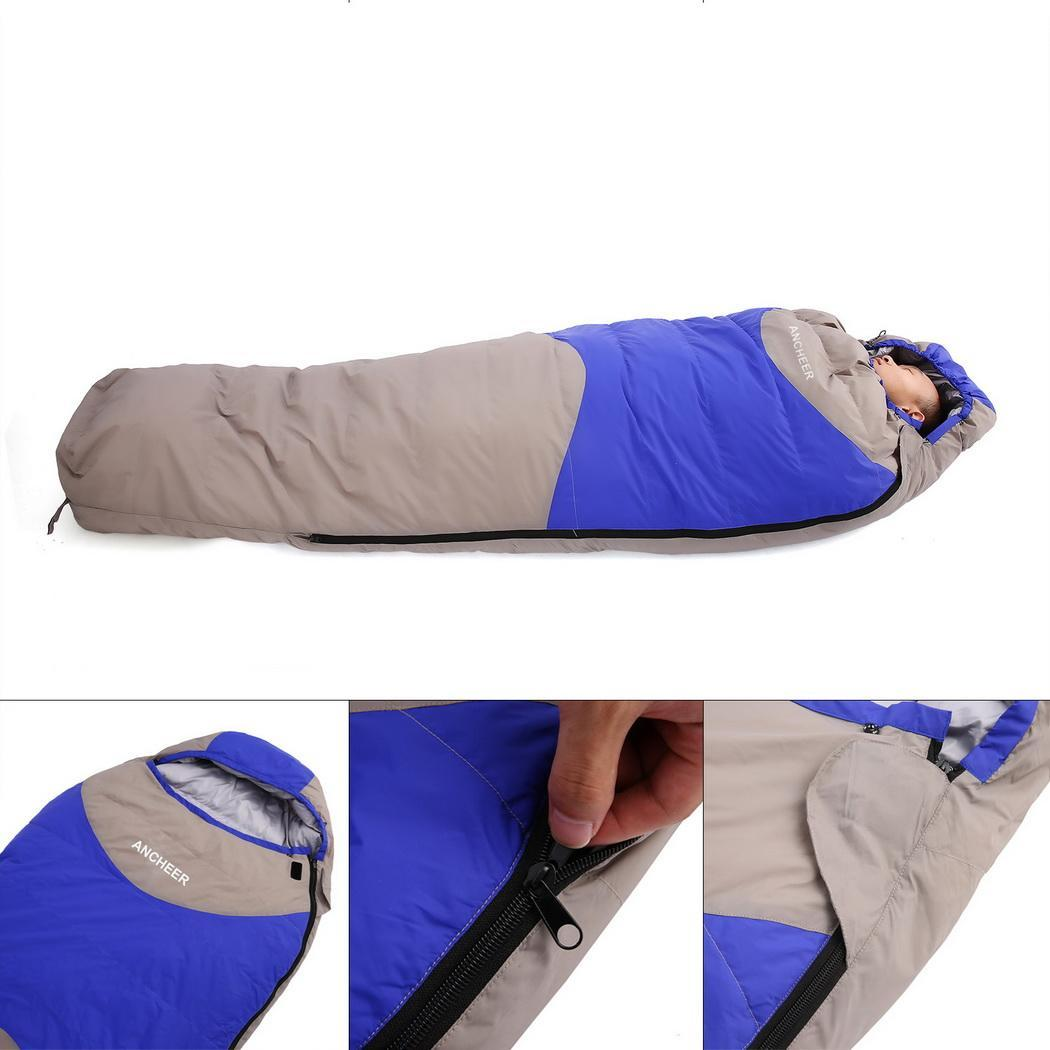 Ancheer 320T Nylon 15 Degree Ultralight Mummy Down Sleeping Bag for Camping Hiking Travel Winter Elst