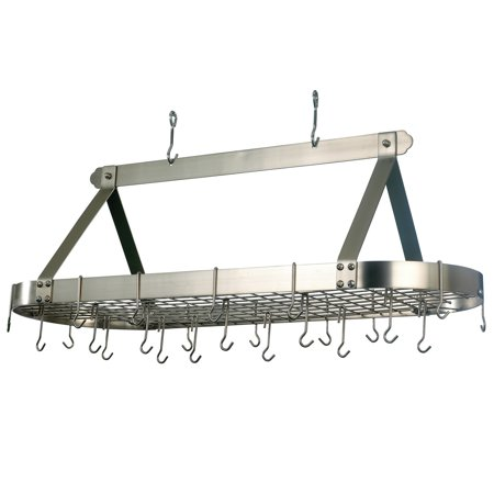 4 Foot Oval Hanging Pot Rack With Grid