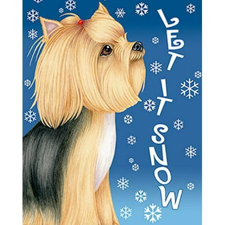 - Yorkie Show Cut - Best of Breed Let It Snow Garden Flag