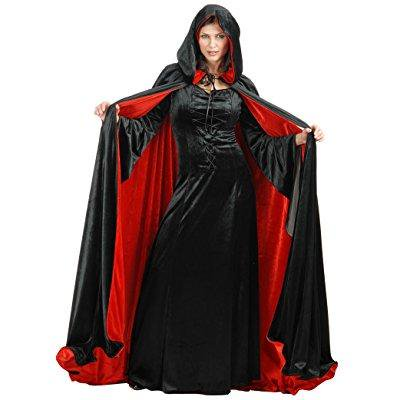 Deluxe Reversible Red and Black Costume Cloak (Black And Red Costumes)