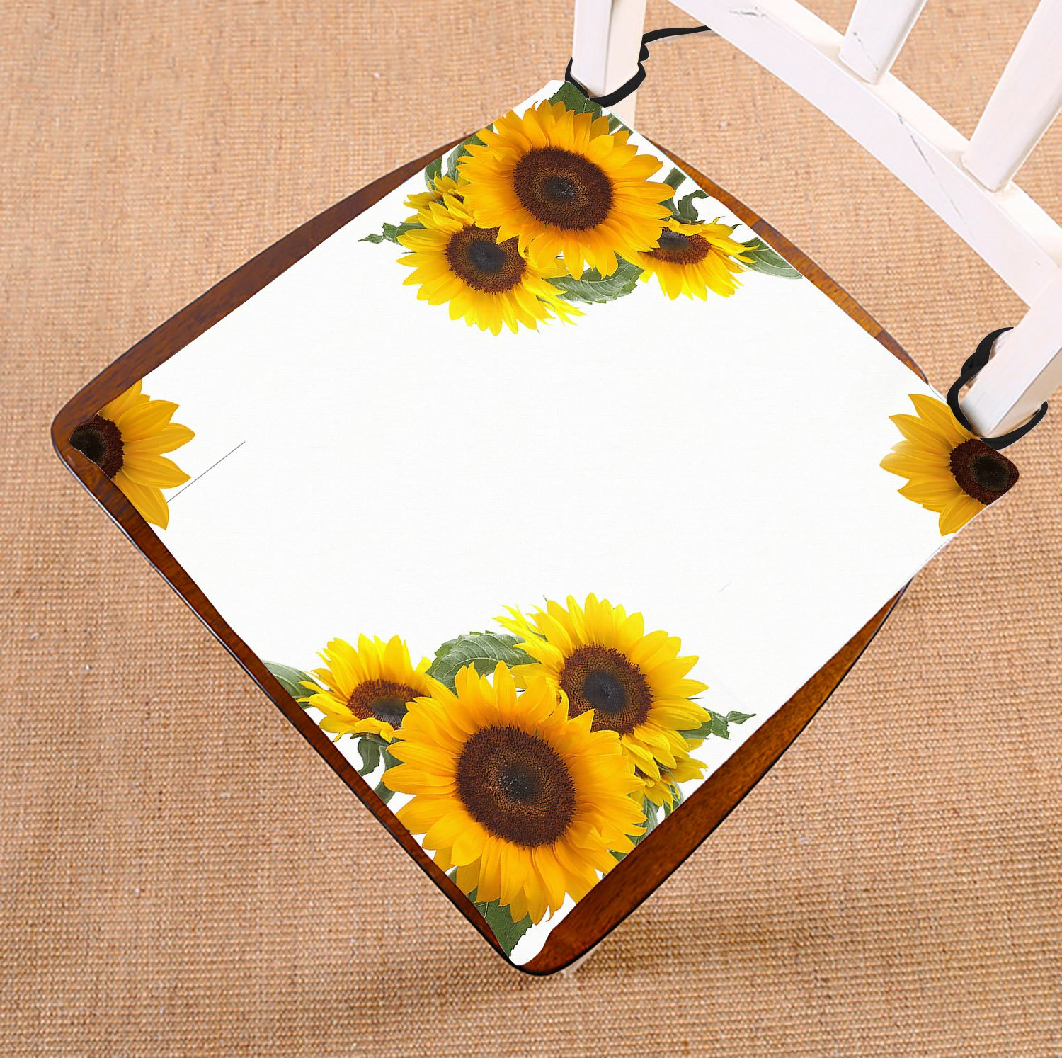 GCKG Sunflowers Chair Pad Seat Cushion Chair Cushion Floor Cushion with Breathable Memory Inner Cushion and Ties Two Sides Printing 16x16 inches