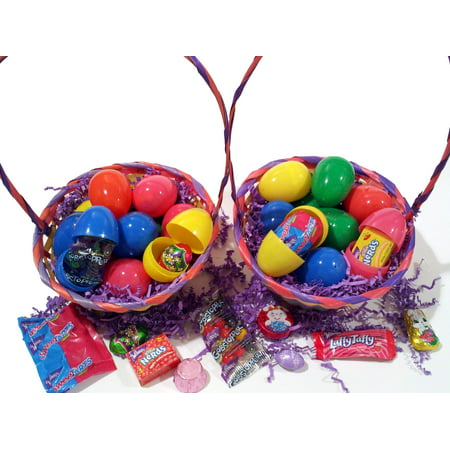 Bulk Hunt Filled Easter Eggs Quality Brand Candy Chocolate & Toys, Solid Colors](Filled Easter Baskets)