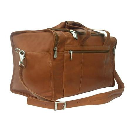 Piel Leather Leather Travel Duffel Bag W Side Pockets In