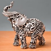 Standing Elephant with Boho Aztec Design Accent Piece