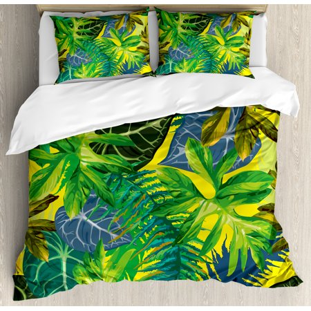 Plant Queen Size Duvet Cover Set, Botany Themed Drawing Depicting Exotic Leaves in Tropical Environment Hawaiian Vibes, Decorative 3 Piece Bedding Set with 2 Pillow Shams, Multicolor, by Ambesonne