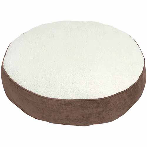 """Scout Deluxe Round Dog Bed, Large, 42"""", Latte/Sherpa"""