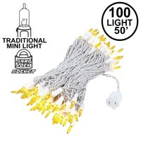Novelty Lights 100 Light Heavy Duty Clear Christmas Wedding Mini String Light Set, White Wire, Indoor/Outdoor UL Listed, 50' Long