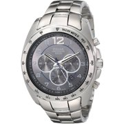 Mens Stainless Steel Case and Bracelet Grey Dial Silver Watch - PT3627