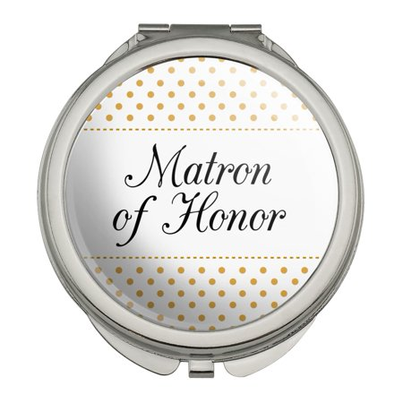 Matron of Honor Wedding Elegant Polka Dots Compact Travel Purse Handbag Makeup Mirror