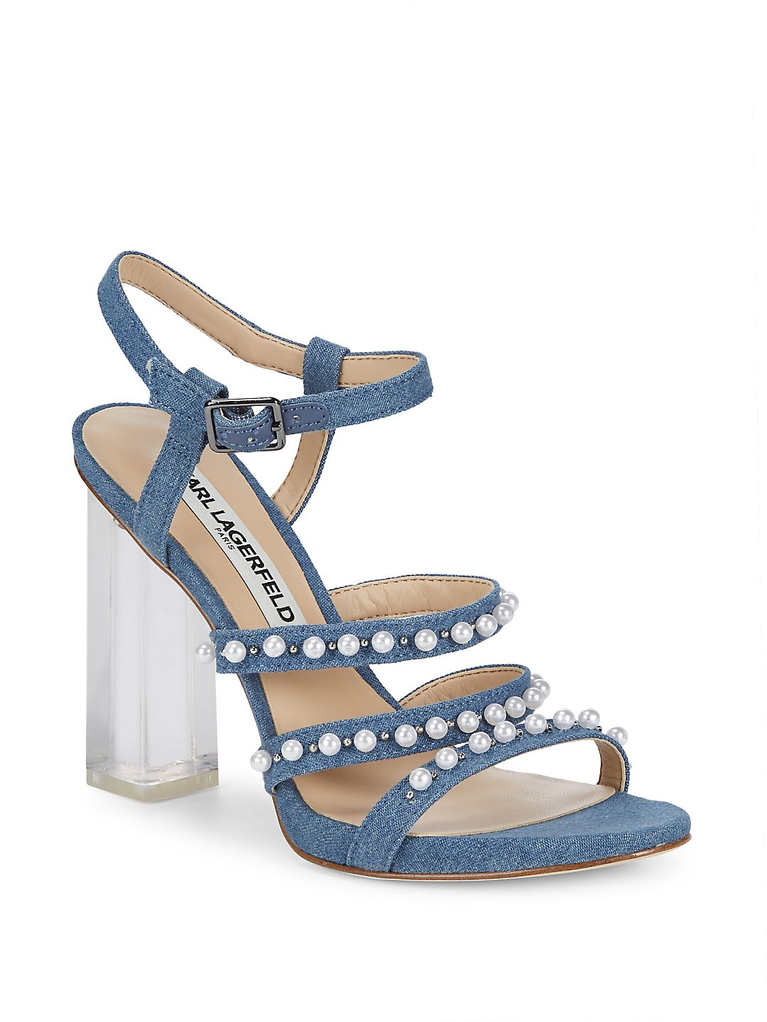 Lara Denim Faux Pearl Sandals