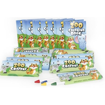 (12 Sets Of Zoo Mini Coloring Books and Crayons - Zoo Animal Party Favors Sets In)