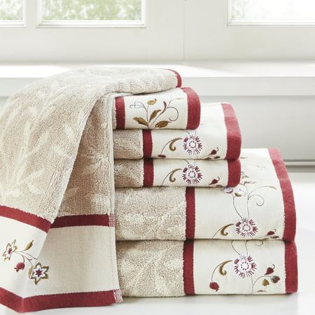 Home Essence Monroe Embroidered Cotton Jacquard 6 Piece Towel