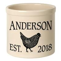 Personalized Chicken 2 Gallon Stoneware Crock